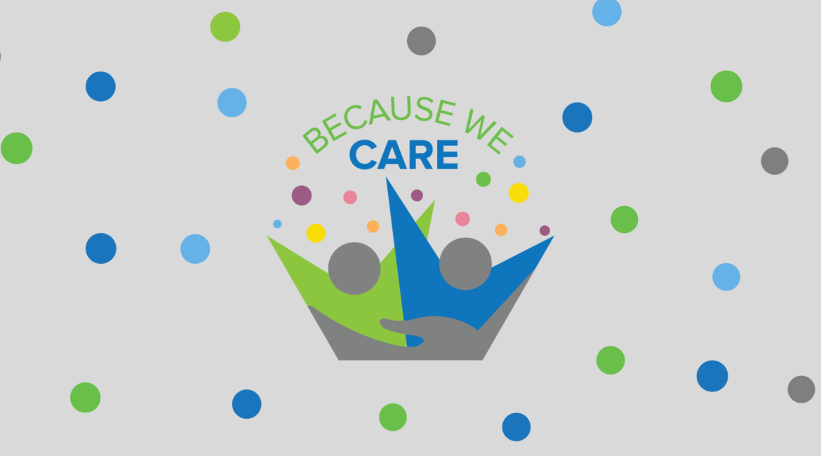 because we care logo - illustration of two people with bright and happy spots